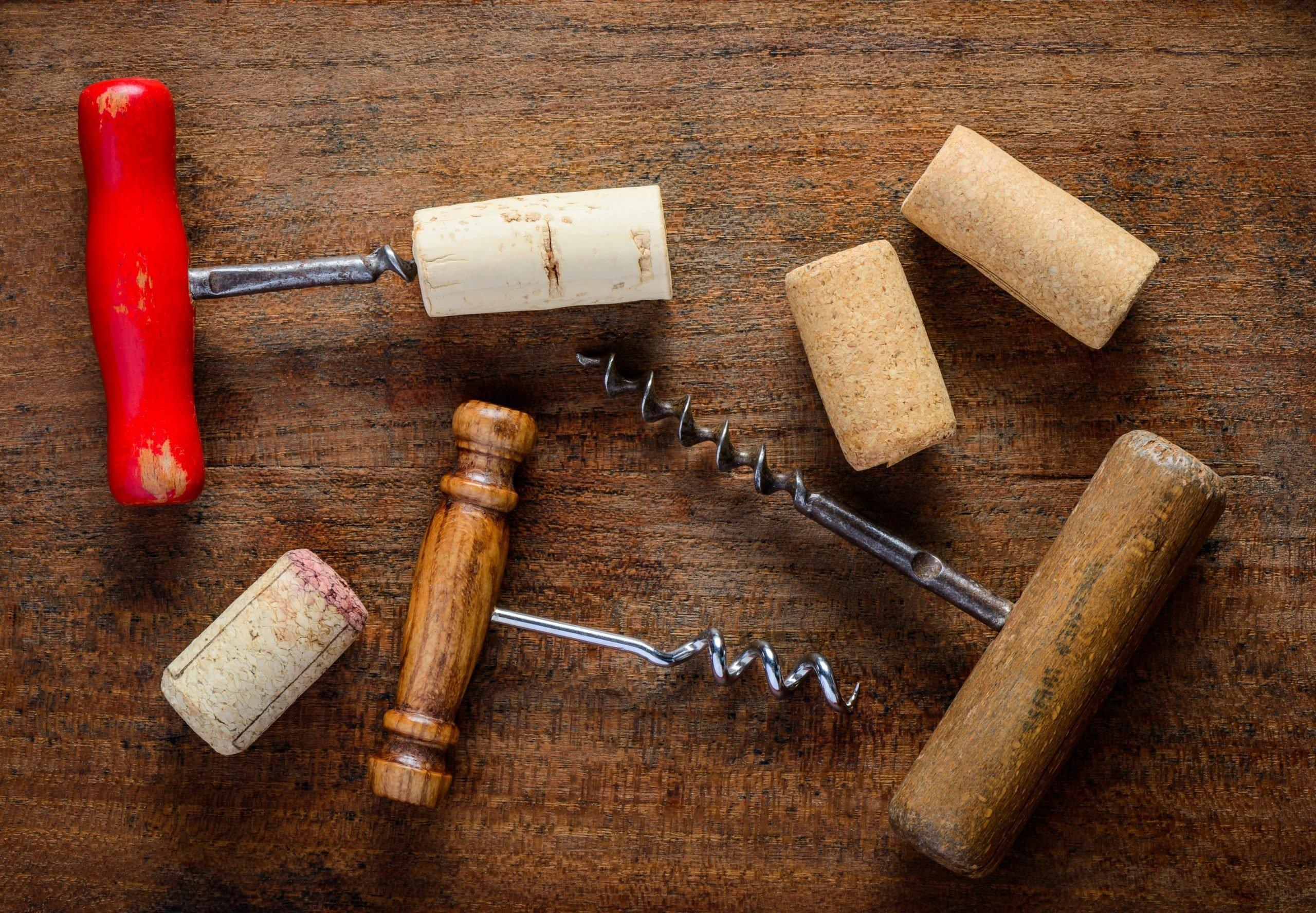 Different corksrew and cork wine opener