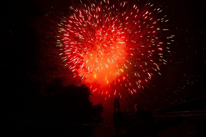Fireworks in red heart shape in Mexico City