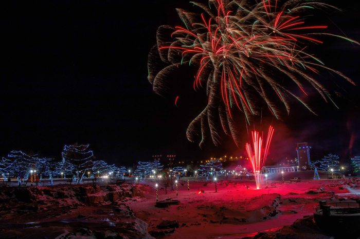 Falls Park in Sioux Falls, South Dakota lights fireworks for New Years