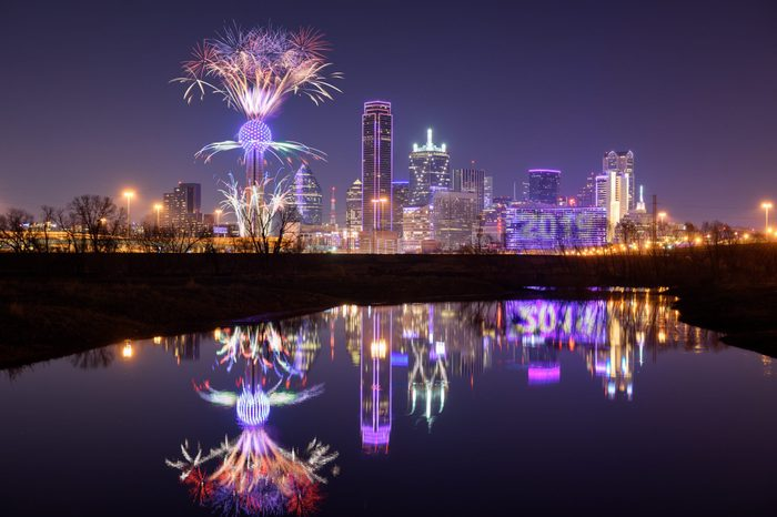 Fireworks at Reunion Tower, Dallas, Texas, USA. New Year countdown festival 2019