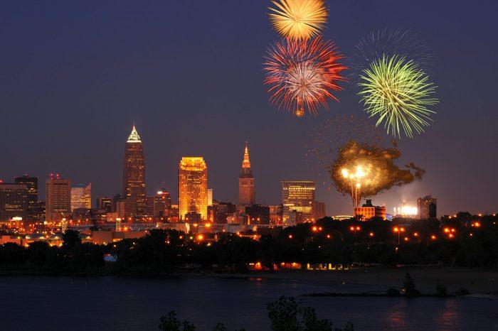 Fireworks burst over downtown Cleveland, Ohio