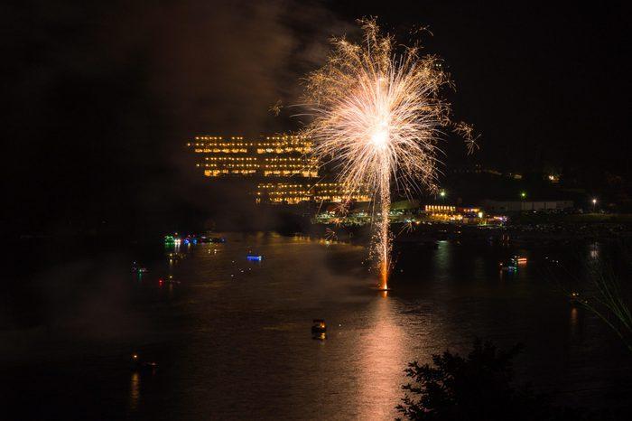 Fireworks for Cheat Lake regatta near Morgantown in West Virginia