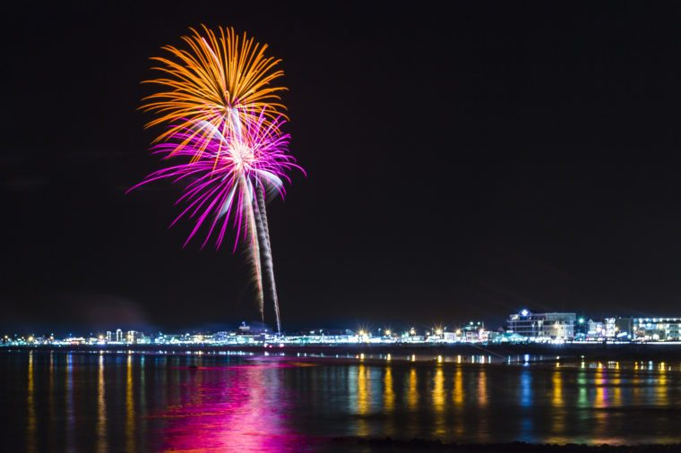 Fireworks high over Hampton Beach in New Hampshire.