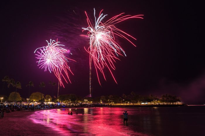 Fireworks light up the night sky over Honolulu during Hawaii's largest fireworks display on the fourth of July at Magic Island Park on the island of Oahu.