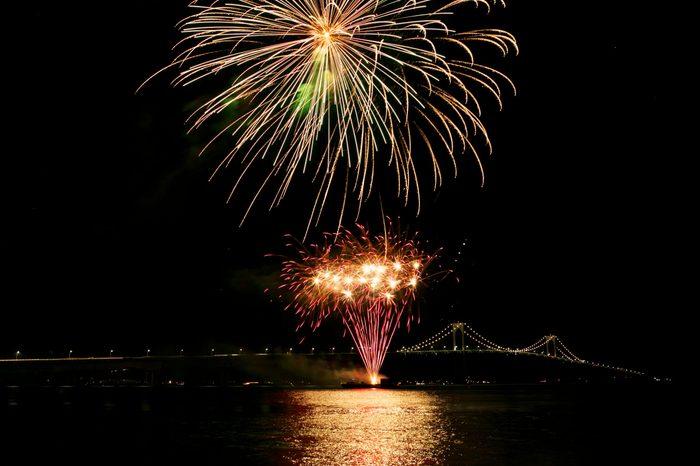 Fireworks near New Port bridge, Rhode Island