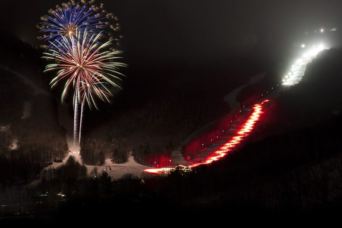 Fireworks over Stowe Mountain Resort, Stowe, Vermont, USA