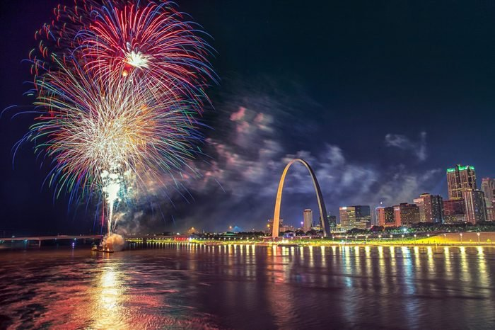 Fireworks over the Famous monument of Gateway Arch in Missouri with St Louis Skyline and Mississippi River, Missouri, USA
