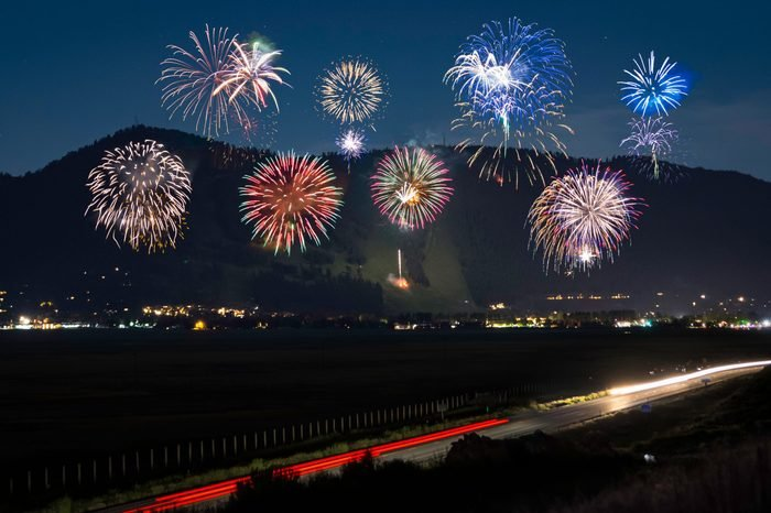Fourth 4th of July fireworks at Snow King resort in Jackson Hole Wyoming