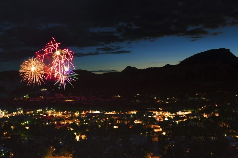 Fourth of July Fireworks Display Oover Durango, Colorado