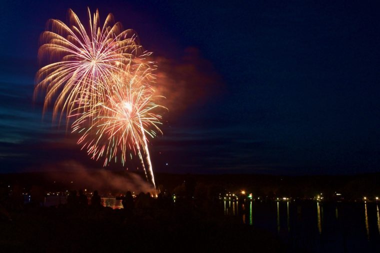 Fourth of July Fireworks over lake Charlevoix