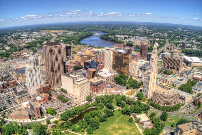 Downtown Hartford, Connecticut Skyline seen in Summer by Drone