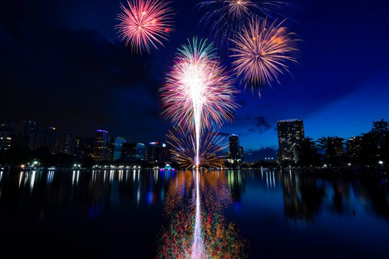 Independence Day in Orlando Florida. Fourth of July Fireworks in Lake Eola, Orlando downtown area.
