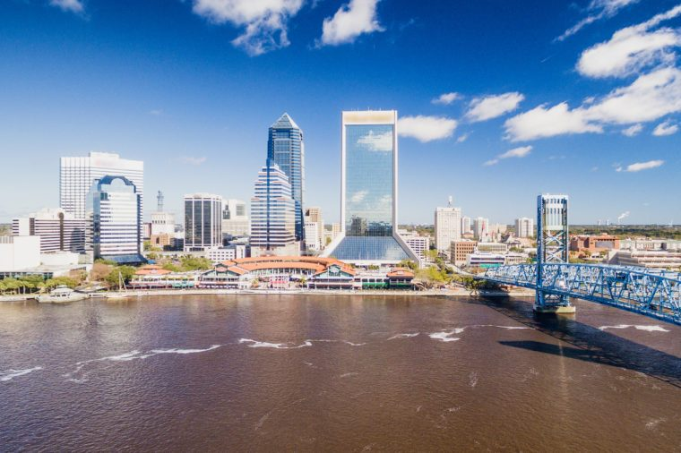 Aerial view of Jacksonville skyline on a sunny day, Florida, USA.