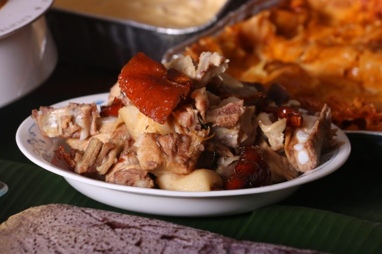 Chopped Parts of Lechon or Suckling Pig which is the national dish of the Philippines and Puerto Rico. It has it roots in Spain and Latin American countries where is usually prepared during festivals.