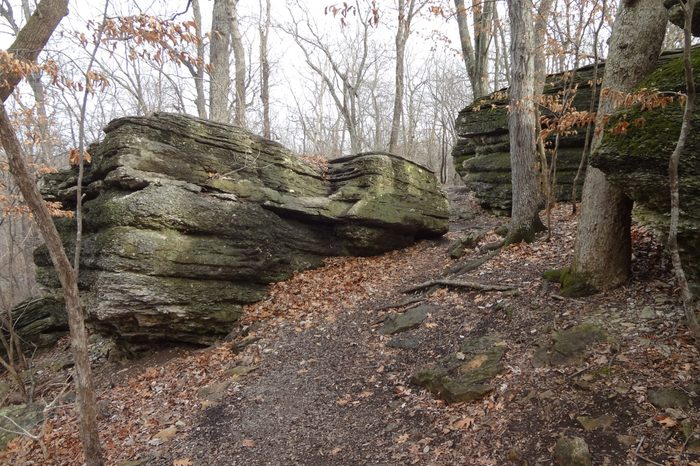 Hiking Trail Passing through Exposed Limestone Bedrock in January near Kansas City, Missouri