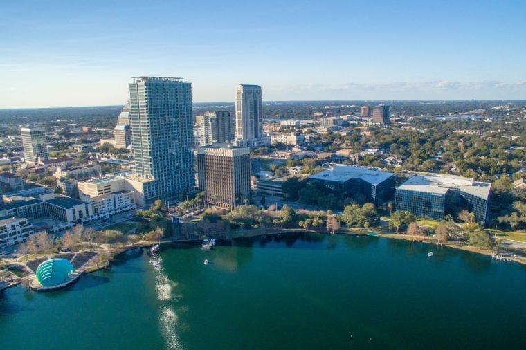 Orlando aerial skyline along Lake Eola.