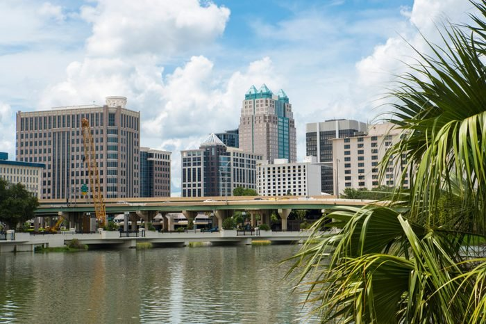 Looking downtown at the Orlando skyline from Lake Lucerne
