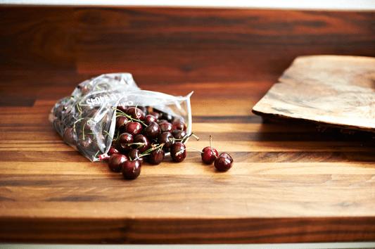 cherries in bag on table