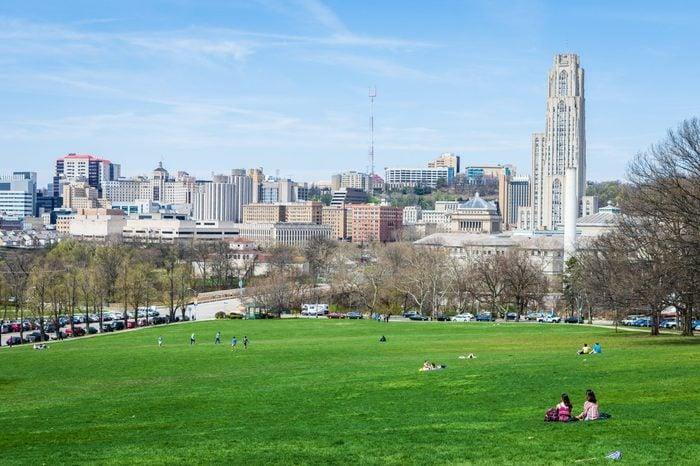 Skyline of Pittsburgh, Pennsylvania from Schenley Park