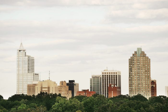 Raleigh downtown skyline in cloudy day