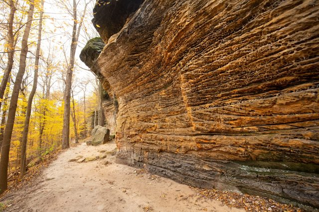 Sedimentary rock outcrop of the Ritchie Ledges along a hiking trail in Cuyahoga Valley National Park near Cleveland, Ohio.