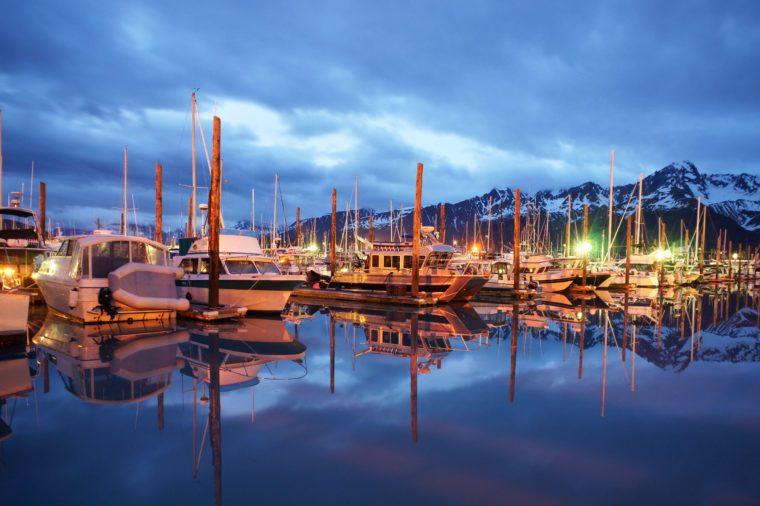 Seward Marina at Midnight Resurrection Bay Alaska United States