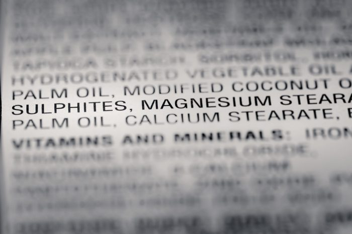 Shallow depth of Field image of Nutrition Facts Preservative Ingredients Information we can find on a grocery Store Product.