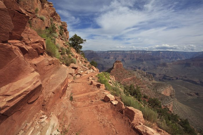 South Kaibab Trail approaching Horseshoe Mesa in the Grand Canyon, Arizona