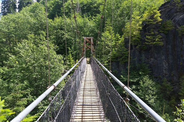 Suspension bridge at Drift creek falls