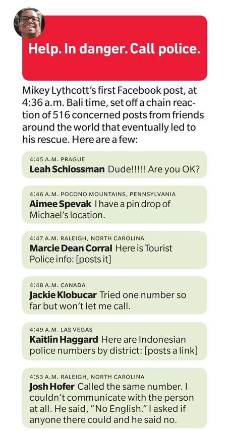 Mikey Lythcott's first Facebook post, at 4:36 a.m. Bali time, set off a chain reaction of 516 concerned posts from friends around the world that eventually led to his rescue.