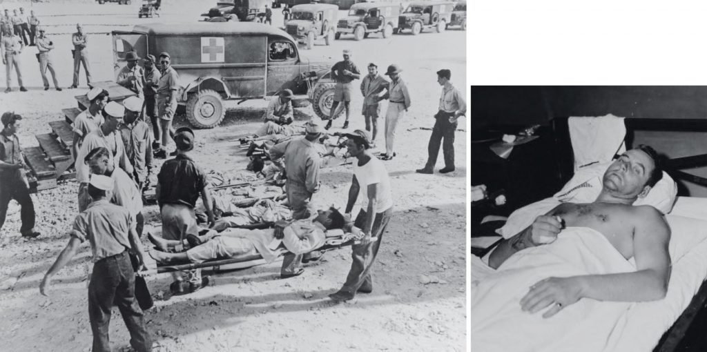 only 316 survived, including this officer (right) recuperating at the Peleliu Hospital.