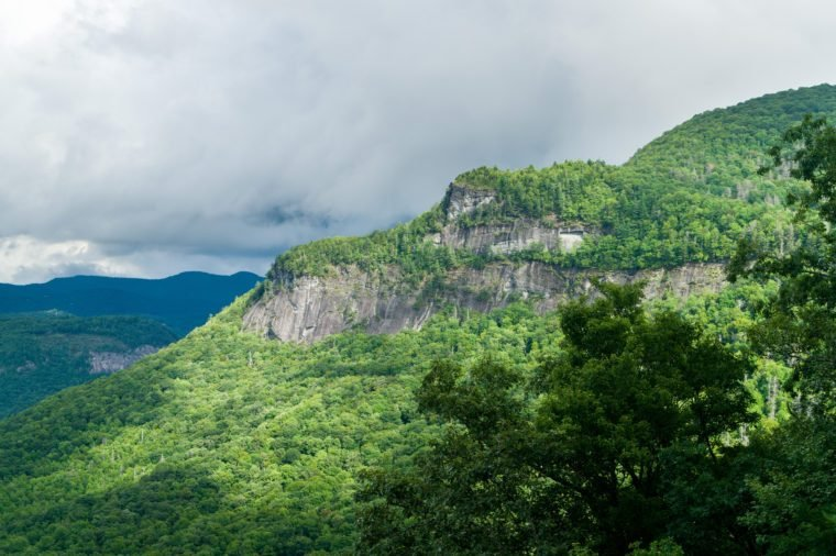 View from the roadside to the summit of Whiteside Mountain near Highlands and Cashiers in North Carolina