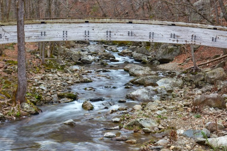 View of the Tye River and a footbridge at Crabtree Falls Recreation Area near Montebello, Virginia