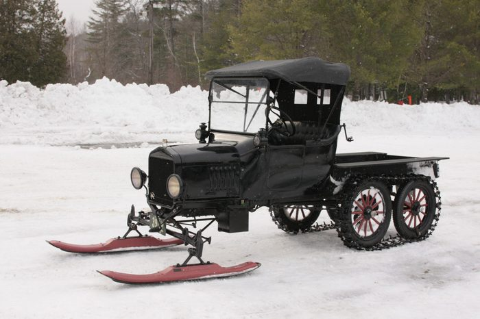 Vintage Model T Modified to be Snowmobile