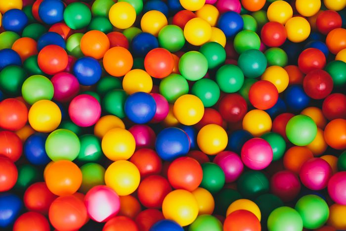 Colorful plastic balls playground indoors