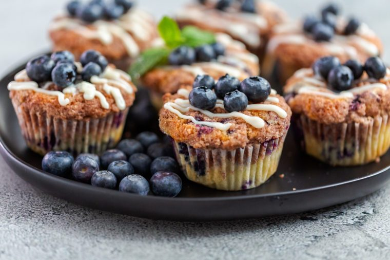 Homemade blueberry muffins made with organic ingredients.