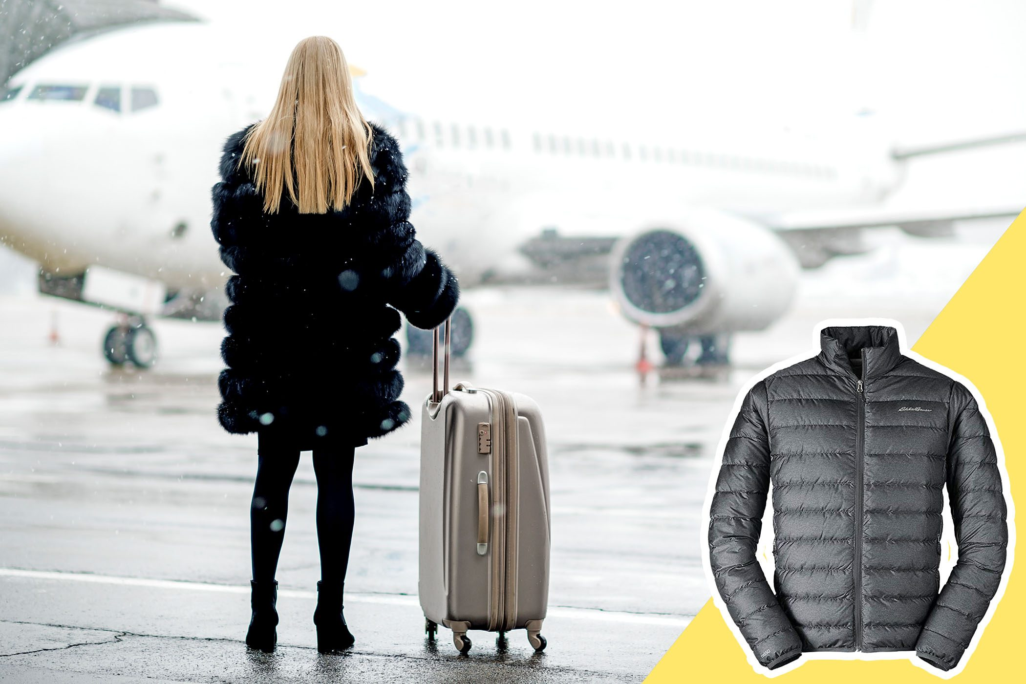 woman wearing bulky coat near airplane with inset of light coat