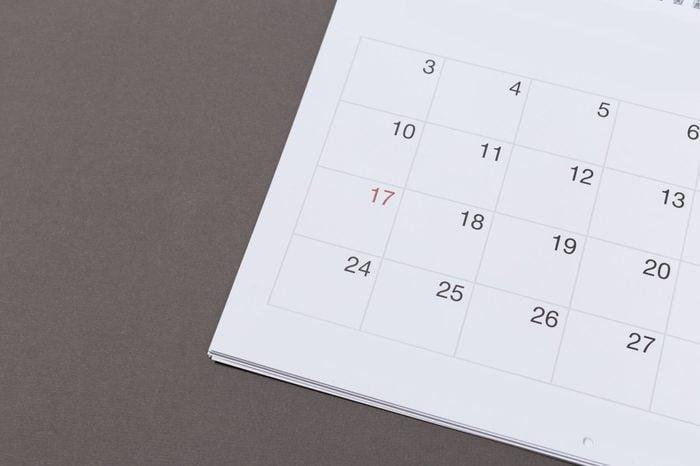 calendar on gray paper background