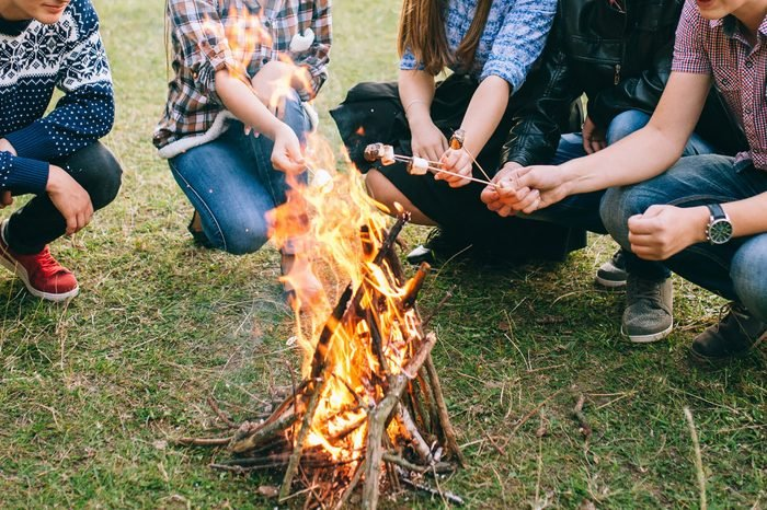 Friends roasting marshmallows over the fire