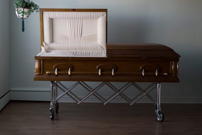 A photo of an open casket found in a funeral home,