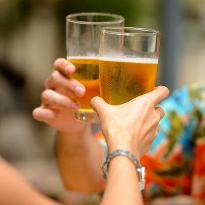 Couple beer cheers