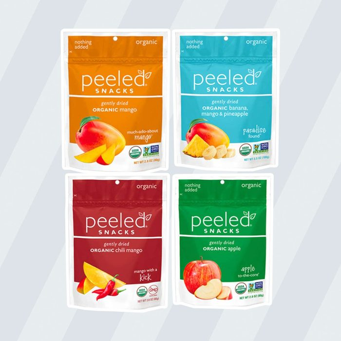 Four different packages of dried fruit