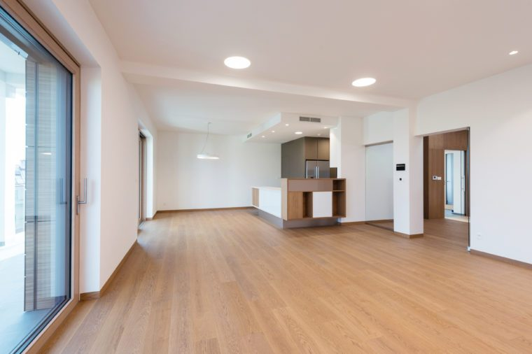 Contemporary interior of kitchen with empty room