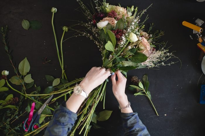 Tools and accessories florists need for making up a bouquet out of peonies