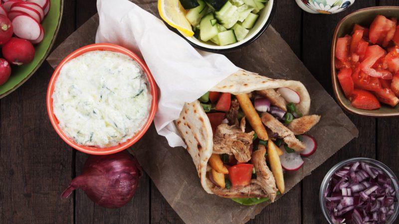 Chicken doner kebab, turkish street food similar to greek gyros