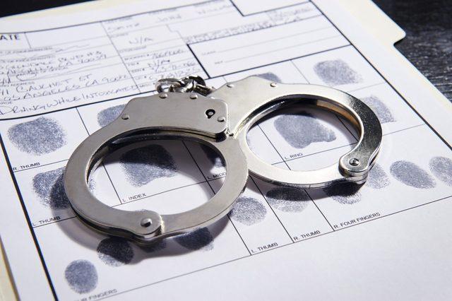 Handcuffs on top of a set of fingerprints file