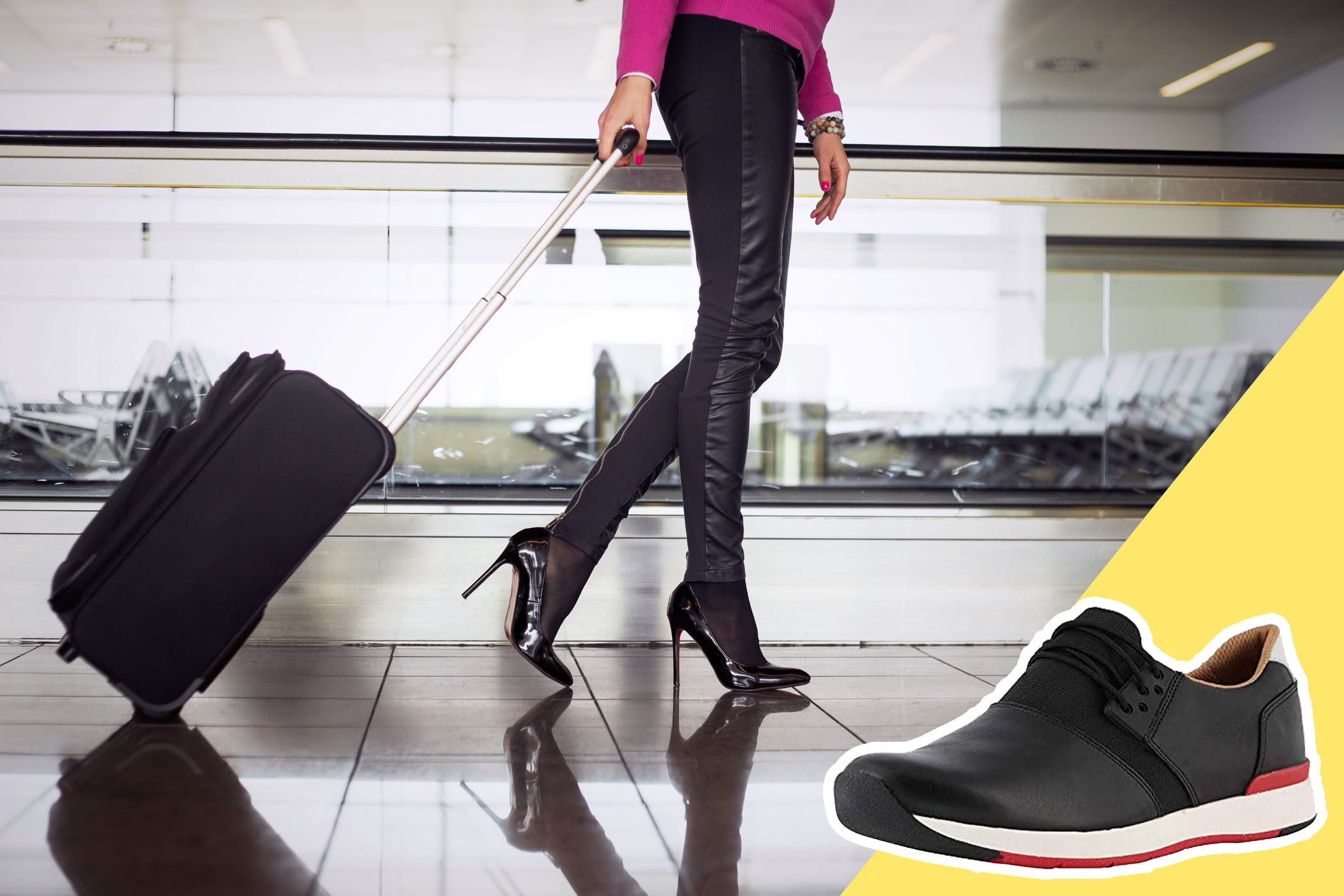 Woman wearing high heels in airport with inset of sneakers