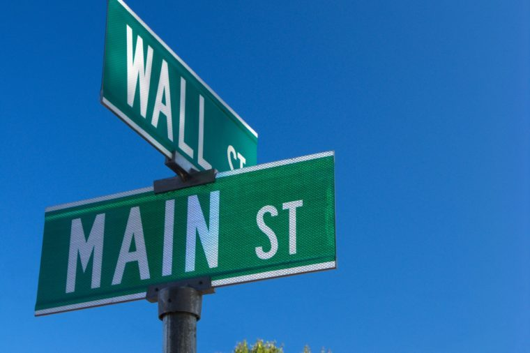 Wall St. and Main Street Road Sign