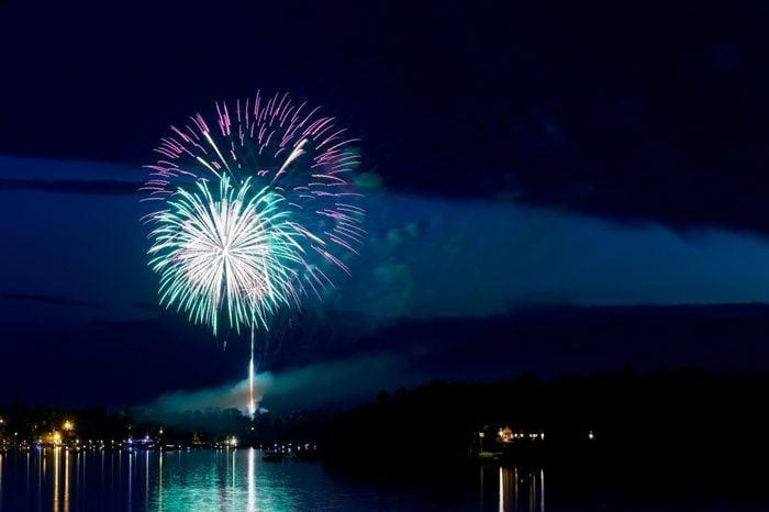 steamboat bay in east gull lake during fourth of july fireworks celebration over lake outside brainerd minnesota