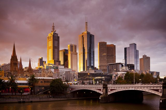 The city centre of Melbourne, Victoria, Australia.